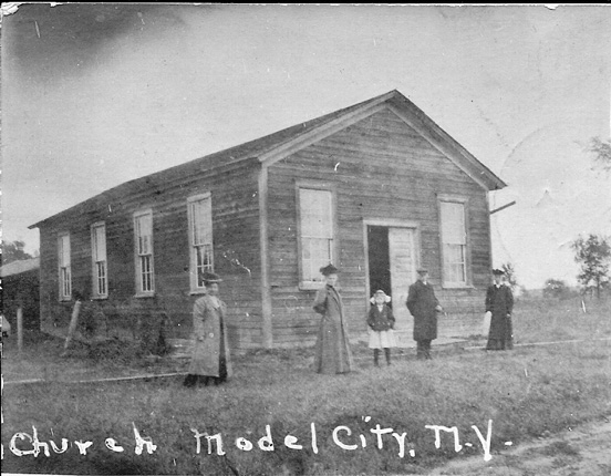 A church in Model City circa 1900.