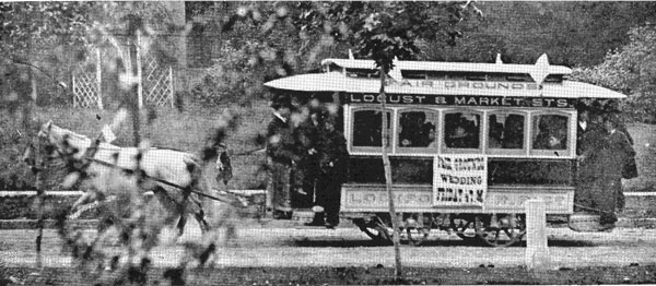 Old Horse drawn trolley in Lokcport before 1900.